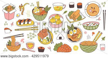 Doodle Asian Japanese Cuisine Traditional Delicious Food. Chinese, Korean, Japanese Rice, Noodles, F