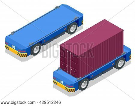 Isometric Automated Transport Vehicles Container Loading Cargo. Container Ship Loading And Unloading