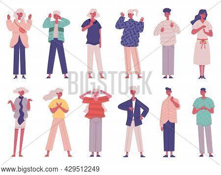 People Negative Rejection Gestures Body Non Verbal Communication. Negative Body Language Conversatio