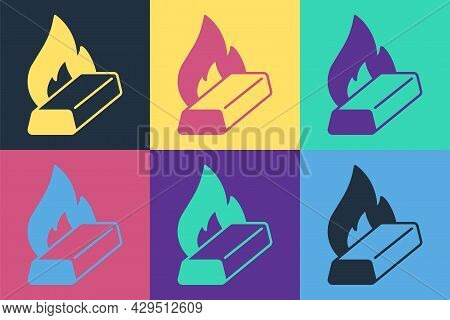 Pop Art Molten Gold Being Poured Icon Isolated On Color Background. Molten Metal Poured From Ladle.