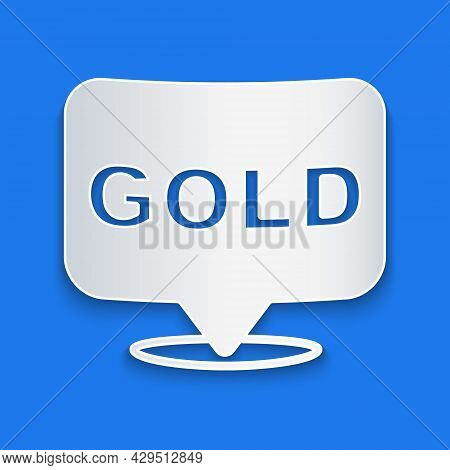 Paper Cut Gold Bars Icon Isolated On Blue Background. Banking Business Concept. Paper Art Style. Vec