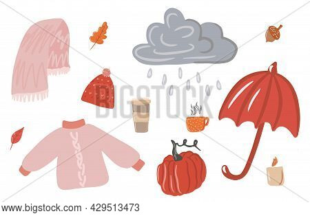 Collection Of Cute Illustrations, A Cozy Rainy Day, Hygge, Raindrops Falling From A Cloudy Sky, Clou