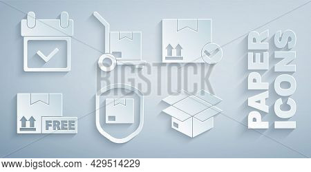 Set Delivery Pack Security With Shield, Package Box Check Mark, Cardboard Free Symbol, Carton Cardbo
