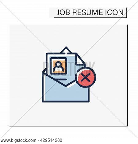 Resume Not Accepted Color Icon. Wrong Format Resume. Personal Recruitment Information. Career Biogra