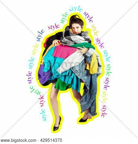 One Young Caucasian Woman Dressed In Many Bright Clothes Surrounded By Lettering Style. Creative Col