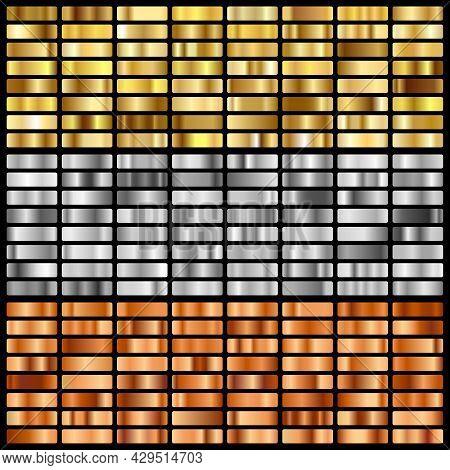 Gold, Silver, Bronze And Golden Foil Texture Gradation Background Set. . Vector Illustration