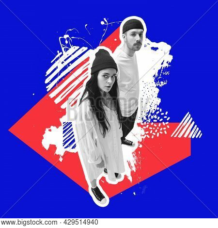 Minimal Collage Art. Young Bw Couple, Man And Woman, Hipsters Standing, Posing Over Blue White Red B