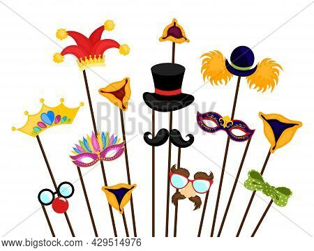 Design For Jewish Holiday Purim With Masks. Happy Purim Jewish Festival, Carnival, Purim Props Icons