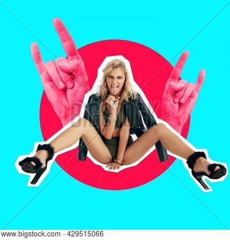 Cheeky Style. One Young Female Fashion Model In Swimsuit And Leather Jacket Sitting Over Red Circle