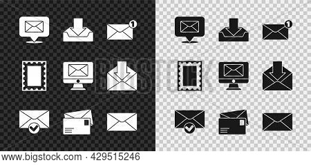 Set Speech Bubble With Envelope, Download Inbox, Envelope, And Check Mark, Postal Stamp And Monitor