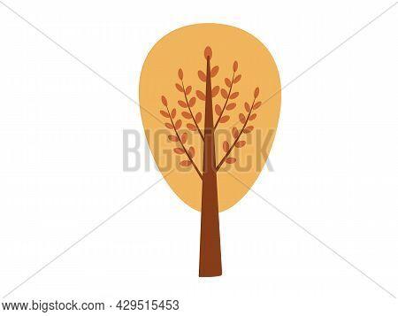 A Certain Autumn Yellow Tree On A White Background