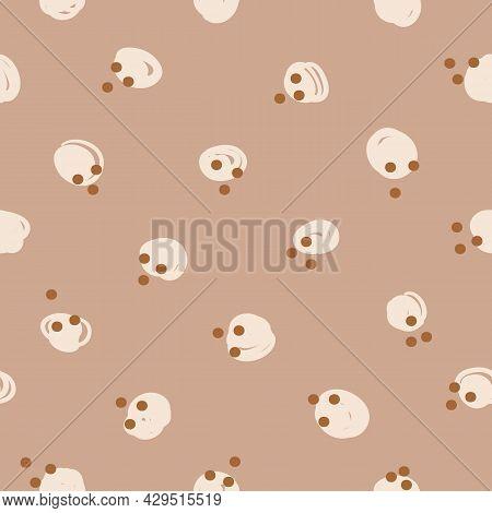 Vector Brown Ecru Polka Dots Boho Seamless Pattern