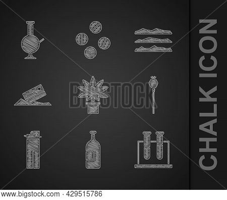 Set Marijuana Or Cannabis Plant In Pot, Alcohol Drink Bottle, Test Tube And Flask, Opium Poppy, Ligh