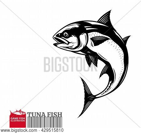 Vector Jumping Tuna Fish Illustration Isolated On A White Background