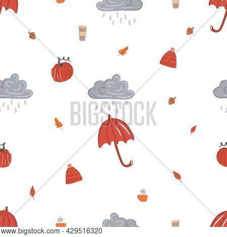 Seamless Pattern With Leaf Fall, Cozy Rainy Day, Hygge, Raindrops Falling From A Cloudy Sky, Cloud A