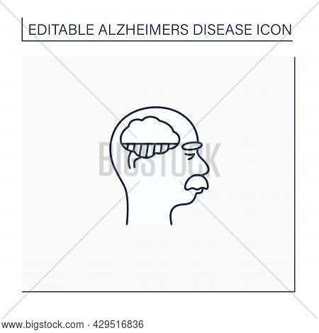 Mild Alzheimer Disease Line Icon. Initial Ill Stage. Neurologic Disorder Concept.isolated Vector Ill