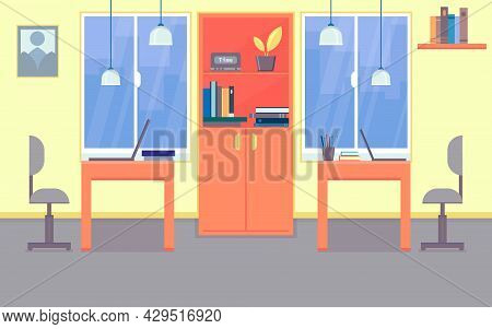 Office Workstation Furniture Interior Concept. Vector Illustration Flat Cartoony Style