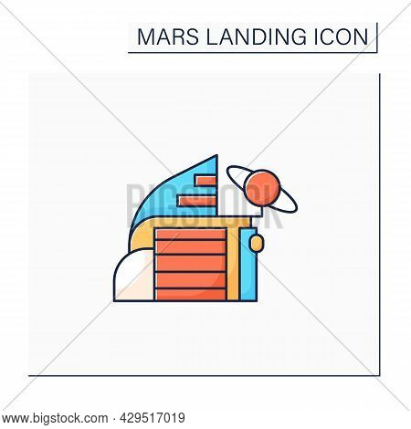 Space Center Color Icon. Research And Development Cosmos Issue. Special Place Observing Cosmos.mars