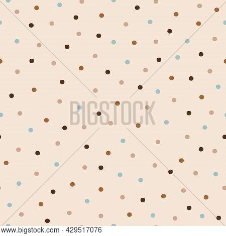 Vector Pastel Neutral Dots Ecru Seamless Pattern