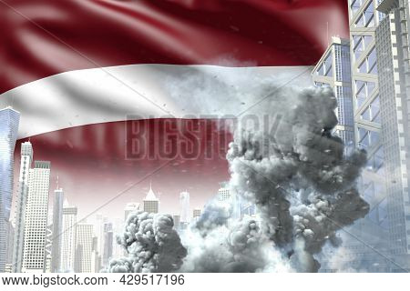 Huge Smoke Pillar In The Modern City - Concept Of Industrial Disaster Or Terroristic Act On Latvia F