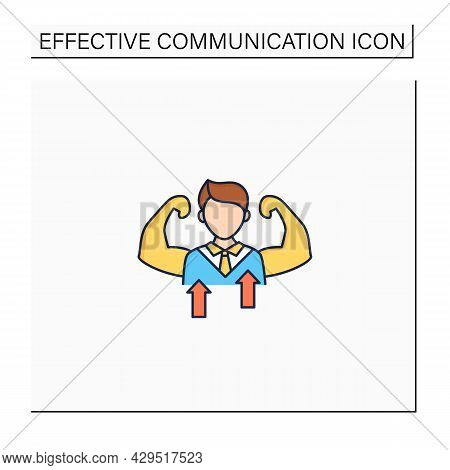 Self Confidence Color Icon.individual Trust In Abilities, Capacities, And Judgments. Strong Personal