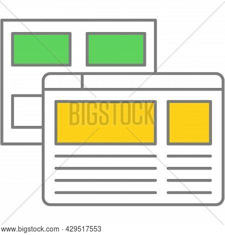 Website Wireframe Prototype Vector Flat Line Icon