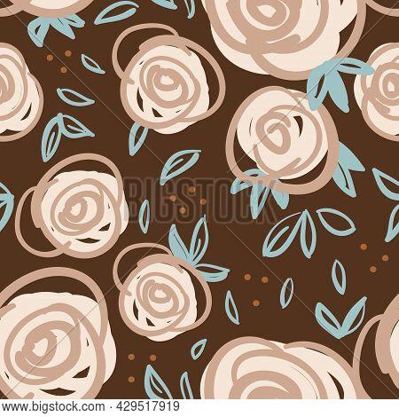 Vector Dots Ecru Roses Doodle Brown Repeat Pattern