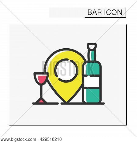 Bar Location Color Icon. Map Pointer. Bar Navigation Pinpoint. Geolocation. Cocktail Party And Drink