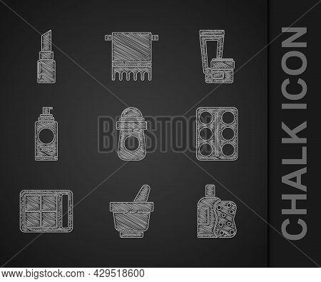 Set Antiperspirant Deodorant Roll, Mortar And Pestle, Bottle Of Shampoo Sponge, Eye Shadow Palette,