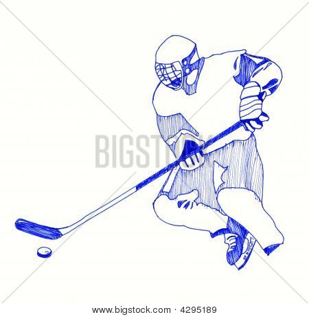 Icon Of Hockey Player.