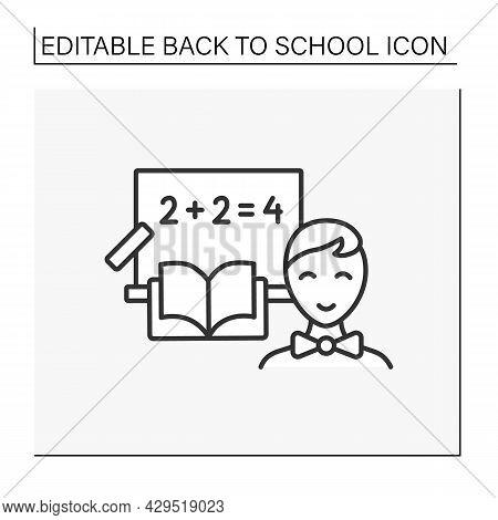 Math Line Icon. Happy Student Return To School. Schoolboy Count On Blackboard.school Subject. Educat