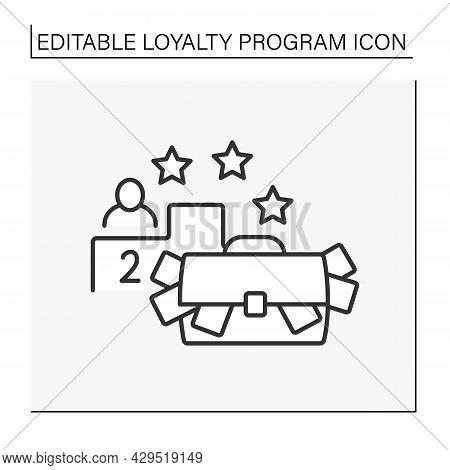 Contest Line Icon. Raffle Of Prizes Between Customers. Cash Winnings For Second Place. Loyalty Progr