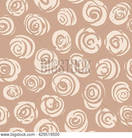 Vector Abstract Roses Doodle Ecru Seamless Pattern