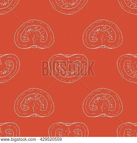 Vector Seamless Pattern Of Half A Tomato. A Pattern From A Part Of A Tomato, A Top View Drawn In A S