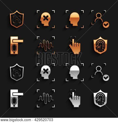Set Voice Recognition, Face, Fingerprint In Shield, Door Lock, Shield Face And Rejection Icon. Vecto