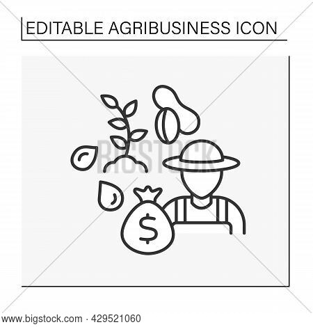 Nuts Cultivation Line Icon. Agronomist Grows, Caring Or Raising Nuts Tree For Market Sale. Peanuts,