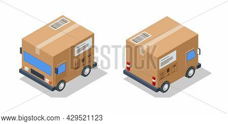 Isometric Small Cargo Delivery Van. Van With Delivery Packages, Delivery Home And Office