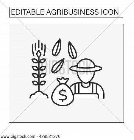 Grains Farming Line Icon. Agronomists Grow Corn, Wheat, Rye For Animal Feed Or Food For People. Prof