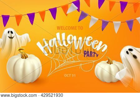 Happy Halloween. Poster Or Card With Ghost And Cobweb. Ghost On Orange Background With Text Welcome