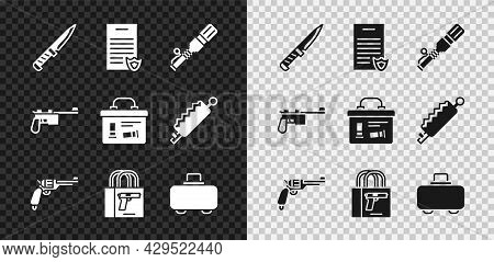 Set Military Knife, Firearms License Certificate, Anti-tank Hand Grenade, Revolver Gun, Buying Pisto