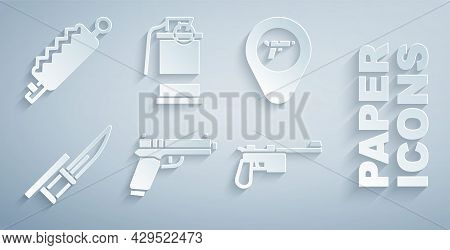 Set Pistol Or Gun, Location With Weapon, Bayonet Rifle, Mauser, Hand Smoke Grenade And Trap Hunting
