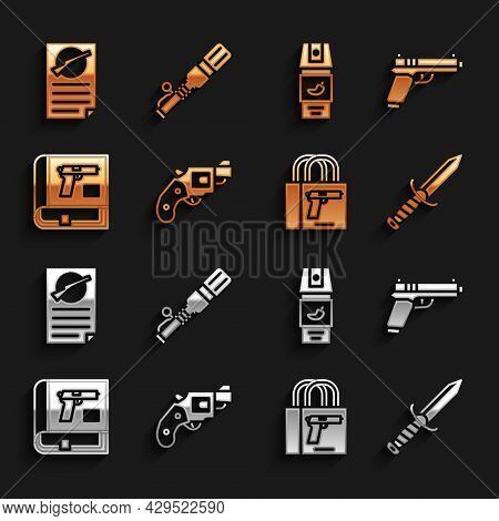 Set Small Gun Revolver, Pistol Or, Military Knife, Buying Pistol, Book With, Pepper Spray, Firearms