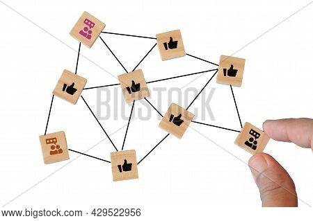 View Of Network Connection With People Linked Each Other. Global Network Concept.