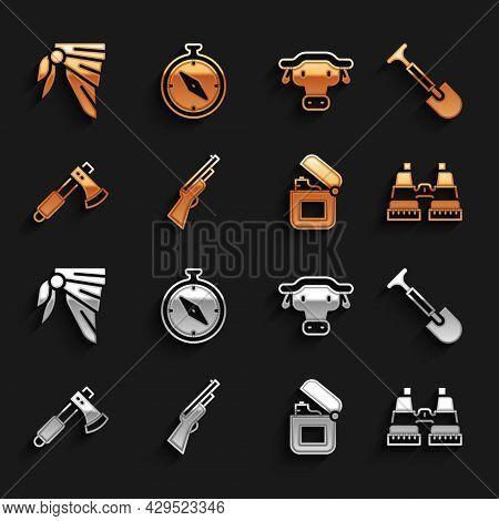Set Hunting Gun, Shovel, Binoculars, Lighter, Wooden Axe, African Buffalo Head, Bandana Or Biker Sca