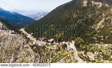 A Road Go Down Between The Albanian Mountains