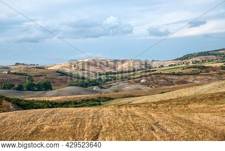 Tuscany, Italy. August 2020. Stunning Landscape Of The Tuscan Countryside.