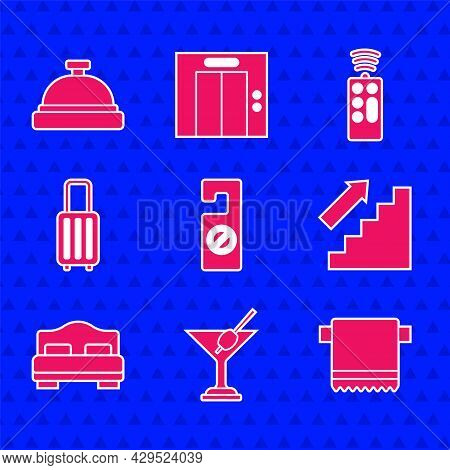Set Please Do Not Disturb, Martini Glass, Towel On Hanger, Stairs Up, Hotel Room Bed, Suitcase, Remo