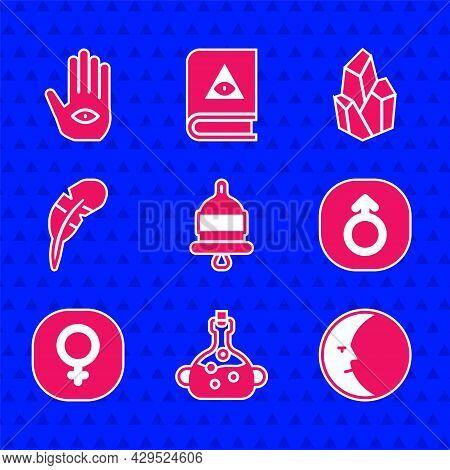 Set Ringing Alarm Bell, Poison Bottle, Moon, Mars, Venus, Feather Pen, Magic Stone And Hamsa Hand Ic