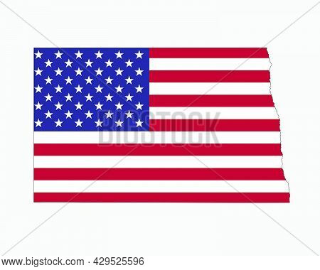 North Dakota Map On American Flag. Nd, Usa State Map On Us Flag. Eps Vector Graphic Clipart Icon