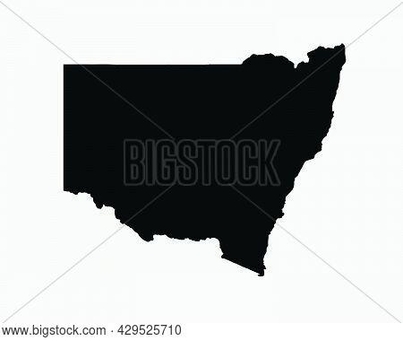 New South Wales Australia Map Black Silhouette. Nsw, Australian State Shape Geography Atlas Border B